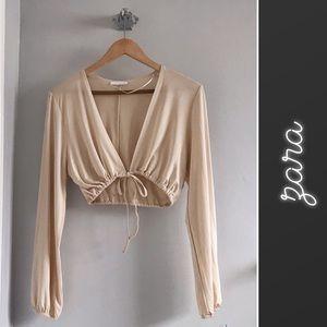 Zara Sport Cream Long Sleeve Crop Top • S